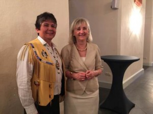 Chief Clarence Louie, Chair of the National Indigenous Economic Development Board, and Marie Gervais-Vidricaire, Canada's Ambassador to Germany, at the Annual Reception of the German-Canadian Association in Mainz on June 27th, 2015