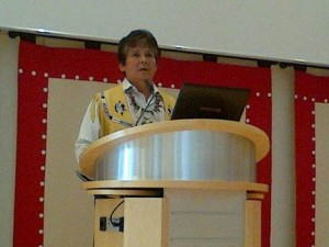 "Chief Clarence Louie delivering a presentation on ""Aboriginal Entrepreneurship - Building Sustainable Businesses and Communities"" to the German-Canadian Business Club on June 23rd, 2015 in Munich"