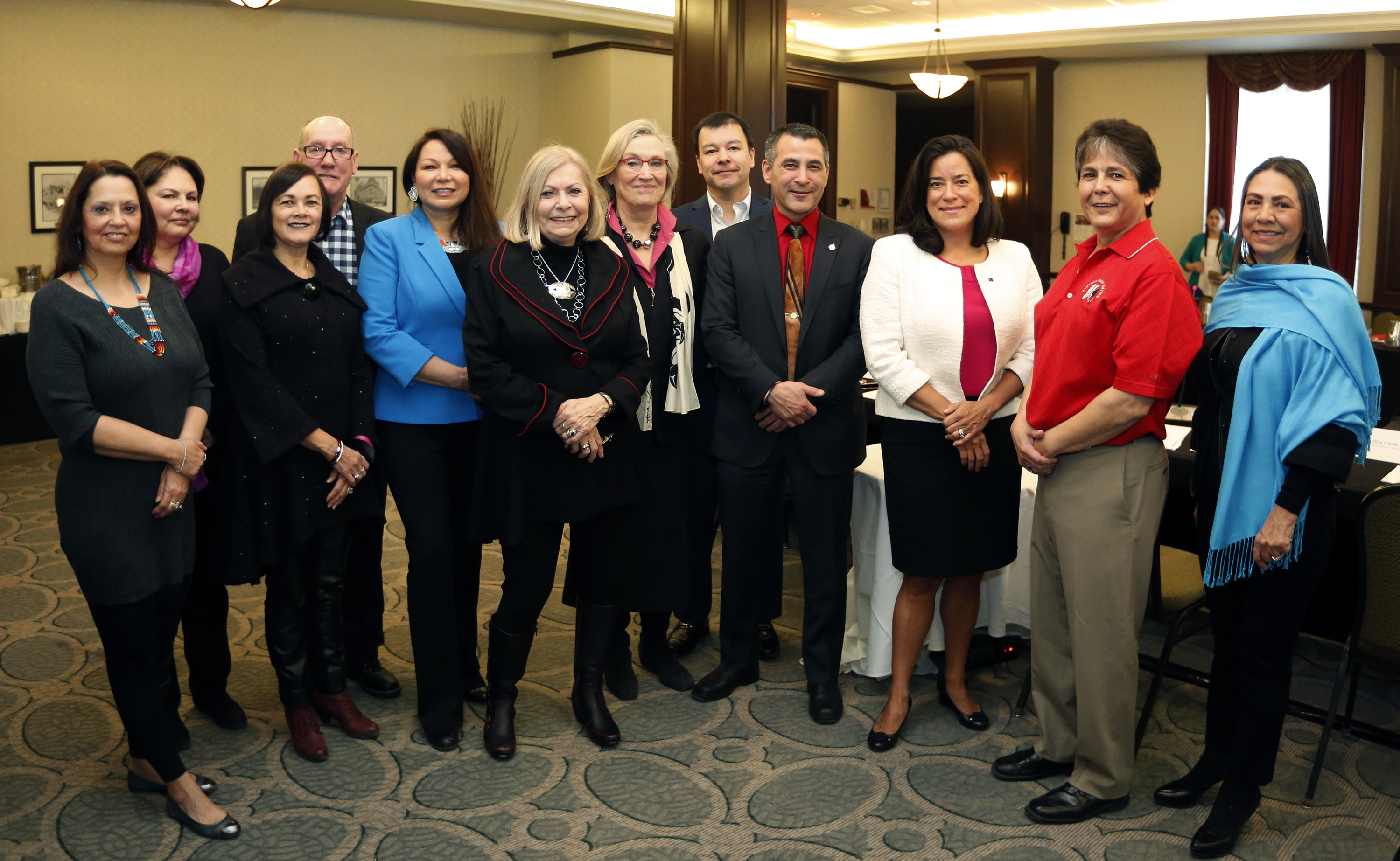 Pictured: Darlene Bernard, Dr. Marie Delorme, Hilda Broomfield Letemplier, Chief Terrance Paul, Dawn Madahbee, Dr. Ruth Williams, Minister Bennett,  Adam Fiddler, Minister Tootoo, Minister Wilson-Raybould, Chief Clarence Louie, Sharon Stinson Henry